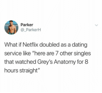 "Dating, Netflix, and Relationships: Parker  @_ParkerkH  What if Netflix doubled as a dating  service like ""here are 7 other singles  that watched Grey's Anatomy for 8  hours straight"""