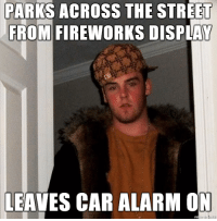 Happens every fucking year: PARKS ACROSS THE STREET  FROM FIREWORKS DISPLAY  LEAVES CAR ALARM ON Happens every fucking year