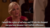 🍷 parksandrec parksandrecreation amypoehler leslieknope: @parks. n.rec  I would like a glass of red wine and I'll take the cheapest  one you have because I can't tell the difference. 🍷 parksandrec parksandrecreation amypoehler leslieknope