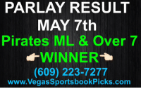 PARLAY RESULT  MAY 7th  Pirates ML & Over 7  WINNER  (609) 223-7277  www. Vegas SportsbookPicks.com Nice Parlay Winner tonight✅$39.00 Got our clients PAID👍🏻 Pirates Pittsburgh MLBpicks cash