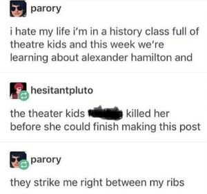 : parory  i hate my life i'm in a history class full of  theatre kids and this week we're  learning about alexander hamilton and  hesitantpluto  the theater kids  killed her  before she could finish making this post  parory  they strike me right between my ribs