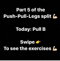 Part 5 of the  Push-Pull-Legs split  Today: Pull B  Swipe  To see the exercises Part 5 of our Push-Pull-Legs split! Today: Pull B !! We focus on back, biceps and rear shoulder 💪🏻 Tomorrow will come the next workout: Legs B 🔥 The exercises we have selected have the best physical load on your muscles depending on tests and researches! 🔝
