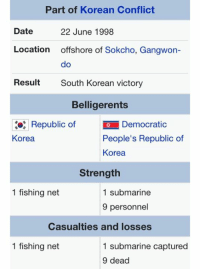 Fish, Victorious, and Korean: Part of Korean Conflict  Date  22 June 1998  Location  offshore of Sokcho, Gangwon  do  Result  South Korean victory  Belligerents  Republic of  io Democratic  People's Republic of  Korea  Korea  Strength  1 fishing net  1 submarine  9 personnel  Casualties and losses  1 fishing net  1 submarine captured  9 dead A new fucking weapon of mass destruction.
