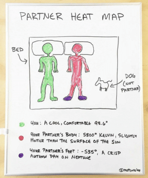 @mattsurelee makes very relatable joke charts and graphs. #jokes #funny #charts #graphs: PARTNER  HEAT  MAP  BED  DOG  (NOT  PARTNER)  uou: A cooL, ComFORTABLE 98.6  HoUR PARTNER'S BoDu S800 KELVIN SLIGHTL  HOTTER THAN THE SURFACE OF THE SUN  HouR PARTNER'S FeeT S35, A CRISP  AUTUMN DAH ON NEPTUNE  @mattsurelee @mattsurelee makes very relatable joke charts and graphs. #jokes #funny #charts #graphs