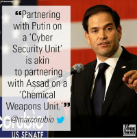 "Marco Rubio was not exactly filled with confidence hearing President Donald J. Trump's announcement that he's partnering with Vladimir Putin on cyber security.: Partnering  with Putin on  a 'Cyber  Security Unit  is akin  to partnering  with Assad on a  Chemical  Weapons Unit.'""  @marcorubio  FOX  NEWS  US SENATE Marco Rubio was not exactly filled with confidence hearing President Donald J. Trump's announcement that he's partnering with Vladimir Putin on cyber security."
