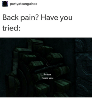 It didn't work :( by Hawksteinman MORE MEMES: partyatsanguines  Back pain? Have you  tried:  E Remove  Human Spine It didn't work :( by Hawksteinman MORE MEMES