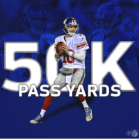 Eli Manning, Memes, and Nfl: PASS YARDS  Ca  NFL Eli Manning: The seventh QB in @NFLhistory to pass for 50,000 yards! 👏  #GiantsPride https://t.co/xdRr4UAmjL