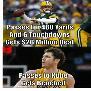 Funny, Memes, and Mlb: Passes for 480 Yards  And 6 Touchdowns  Gets $26 Million Deal  Passes to Kobe  Gets Benched funny nfl memes -- making fun of tebow - bustasports, nba, nhl, mlb ...