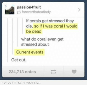 Funny, Epic, and Answer: passion4fruit  foreverthatcatlady  If corals get stressed they  die, so if I was coral I would  be dead  what do coral even get  stressed about  Current events  Get out.  234,713 notes  EVERYTHING FUNNy ORG That ePiC answer