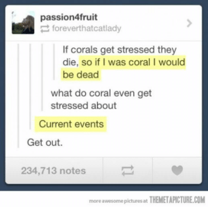 Pictures, Awesome, and Sad: passion4fruit  foreverthatcatlady  If corals get stressed they  die, so if I was coral I would  be dead  what do coral even get  stressed about  Current events  Get out.  234,713 notes  more awesome pictures at THEMETAPICTURE.COM Oh my hahah it's sad how fast I got this