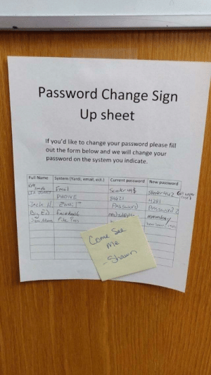 Email, Change, and Fit: Password Change Sign  Up sheet  If you'd like to change your password please fill  out the form below and we will change your  password on the system you indicate.  Full Name System (Yardi, email, ect.) Current password New password  Kyle  28  vna  mmr  H-  Co I don't know if it will fit here.