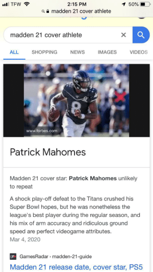 Pat Mahomes did not lose to the titans nor dose he wear number 8 so?: Pat Mahomes did not lose to the titans nor dose he wear number 8 so?