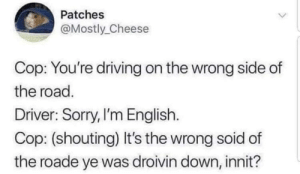 Driving, Memes, and Respect: Patches  Mostly Cheese  Cop: You're driving on the wrong side of  the road.  Driver: Sorry,I'm English.  Cop: (shouting) It's the wrong soid of  the roade ye was droivin down, innit? Respect one's culture via /r/memes https://ift.tt/2P2idyF