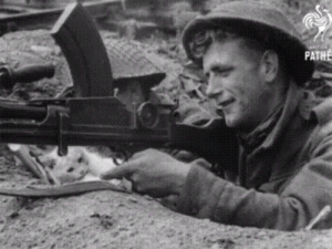 Soldiers, True, and Tumblr: PATHE kropotkindersurprise: moltherion:  kropotkindersurprise:  olaeinaiflou:  kropotkindersurprise: 1944 - Snowball the cat tries to take over a machine gun in Normandy so she can shoot some Nazis herself. Good luck to you, Snowball![video]  I prefer the version that the cat tries to stop him from shouting another human being.   Well, luckily that version isn't true, and the Nazis were defeated by shooting lots of them. Good job, Snowball!   Trench warfare, a Madsen MG, and the late revision kettle helmet point to the actually time frame of this being mid to late World War 1, British Soldiers, on the western front of the war. Probably engaged in a stalemate with German forces at Verdun, The Battle of the Somme ,or The Third Ypres Campaign.  A good attempt at sounding smart, dear porn blog, but I think you didn't notice there's a video link attached showing when and where it is.