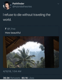 Beautiful, World, and How: Pathfinder  @Hybridstheories  l refuse to die without traveling the  world  F @f frxo  How beautiful  4/10/18, 1:04 AM  36.5K Retweets 80.1K Likes