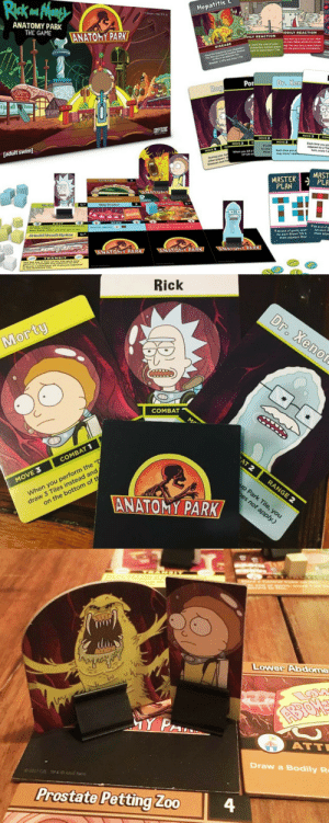 novelty-gift-ideas:  Rick And Morty Anatomy Park Game: patitis  ANATOMY PARK  THE GAME  ts  ANATOMY PARK  ODILY REACTION  ILY REACTION  DISEASE  Por  Dr. Xen  HOVE 3  adult swim]  MOVE 2  MOVE 2  when you k  VP OR  MASTER MAST  PLAN  for each Brown Tie  more adise  more adiacent biue   Rick  Morty  COMBAT  COMBAT 1  MOVE3  when you perform the  draw 3 Tiles instead and  on the bottom of t  ANATOMY PARK   Lower Abaome  ATT  Draw a Bodily R  Prostate Petting Zoo  4 novelty-gift-ideas:  Rick And Morty Anatomy Park Game