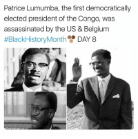 patrice: Patrice Lumumba, the first democratically  elected president of the Congo, was  assassinated by the US & Belgium  #BlackHistoryMonth  DAY 8