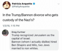 (GC): Patricia Arquette  @PattyArquette  In the Trump/Bannon divorce who gets  custody of the Nazi's?  1/3/18, 1:15 PM  Greg Curtner  Trump recognized Jerusalem as the  capital of Israel  Bannon (whom I actually dislike) hired  Ben Shapiro and Milo, two Jews  married to non whites. (GC)