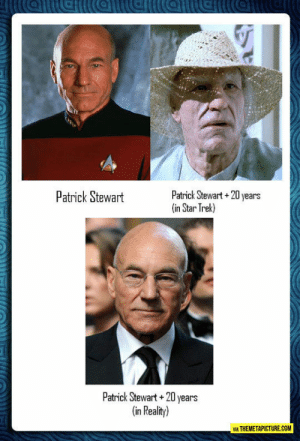 Star Trek, Tumblr, and Blog: Patrick Stewant  Patrick Stewart+20 years  (in Star Trek)  Patrick Stewart+20 years  in Reality)  VIA THEMETAPICTURE.COM srsfunny:Star Trek Probably Got It All, Except For One Thing