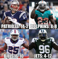 MY AFC East 2017 record predictions! Patriots win the division easily and get 1st seed! Let the debate begin!: PATRIOTS 14-2 DOLPHINS: 8-8  BILLS 6-10 JETS: 4-12 MY AFC East 2017 record predictions! Patriots win the division easily and get 1st seed! Let the debate begin!