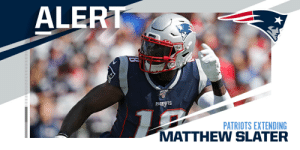 Patriots, 8x Pro Bowler Matthew Slater agree to two-year extension. (via @RapSheet) https://t.co/gFGMllLvEc: Patriots, 8x Pro Bowler Matthew Slater agree to two-year extension. (via @RapSheet) https://t.co/gFGMllLvEc