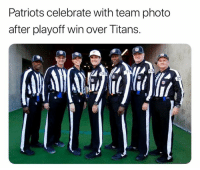 Patriotic, Titans, and Team: Patriots celebrate with team photo  after playoff win over Titans.  71