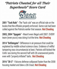 "Ass, Books, and Cheating: Patriots Cheated for all Their  Superbowls"" Score Card  2001 ""Tuck Rule"" - The ""tuck rule"" was an official rule on the  books that the officials properly enforced. Same rule had been  called against the Patriots earlier that season. Not Cheating  2003, 2004 ""Spygate""-Wasn't even ilegal until 2007. EVERY  team (even yours) was doing it at the time. Not Cheating  2014 ""Deflategate""- Difference in air pressure that could be  explained by middle school science class. Evidence of willful  tampering was circumstancial at best. Patriots still kicked the  Colts' ass during the second half with 28 unanswered points  even with ""properly inflated"" balls. Not Cheating  2016 ""28-3"" -Falcons defense collpased faster than the 2008  housing market and blew a 28-3 lead. Not Cheating Just going to leave this here for the haters https://t.co/W8U5KSf8BH"