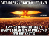 Be Like, Butt, and Nfl: PATRIOTS FANS BUTT HURT LEVEL  ONFLMEMEZ  ANYTIME SOMEONE BRINGS UP  SPYGATE DEFLATEGATE OR EVERY OTHER  TIME THEVACHEATED Patriots fans be like...