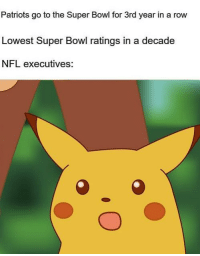 Nfl, Patriotic, and Super Bowl: Patriots go to the Super Bowl for 3rd year in a row  Lowest Super Bowl ratings in a decade  NFL executives: Seriously, last night was a snooze-fest