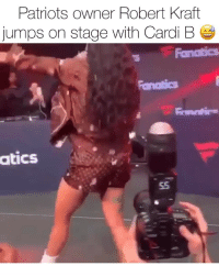 Friends, Memes, and Patriotic: Patriots owner Robert Kraft  jumps on stage with Cardi B  atics cardib in Atlanta performing with the help of Mr. Kraft 😅 who do y'all got winning the superbowl ⁉️ Follow @bars for more ➡️ DM 5 FRIENDS