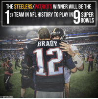 The Steelers and Pats are among the gold standard of NFL greatness.: PATRIqrs  THE STEELERS  WINNER WILL BE THE  ST TEAM IN NFL HISTORY TO PLAYIN SUPER  BOWLS  BRADY  78  H/T@NFLRESEARCH The Steelers and Pats are among the gold standard of NFL greatness.