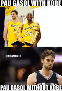 PAUGASOL WITH KOBE  24  @NBAMEMES  PAU GASOL WITHOUT KOBE Pau Gasol knows it. #Spurs Nation #LakeShow