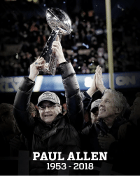 We are saddened to share that @Seahawks owner Paul Allen has passed away at age 65: https://t.co/Qcc4onRSZA https://t.co/WXwpwSSTxh: PAUL ALLEN  1953- 2018 We are saddened to share that @Seahawks owner Paul Allen has passed away at age 65: https://t.co/Qcc4onRSZA https://t.co/WXwpwSSTxh
