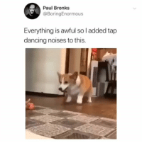 Dancing, Memes, and Amazing: Paul Bronks  @BoringEnormous  Everything is awful so l added tap  dancing noises to this. Amazing