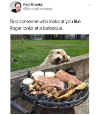 Memes, Roger, and 🤖: Paul Bronks  @BoringEnormous  Find someone who looks at you like  Roger looks at a barbecue. 😂lol