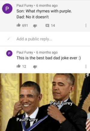 Just adding insult to injury at this point: Paul Furey · 6 months ago  Son: What rhymes with purple.  Dad: No it doesn't  691  14  Add a public reply...  Paul Furey 6 months ago  This is the best bad dad joke ever :)  12  Paul Furey  Paul Furey Just adding insult to injury at this point