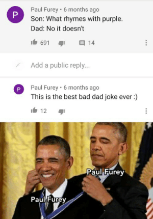 I Paul the furey am the greatest dad: Paul Furey • 6 months ago  Son: What rhymes with purple.  Dad: No it doesn't  691  14  Add a public reply...  Paul Furey · 6 months ago  This is the best bad dad joke ever :)  It 12  Paul Furey  Paul Furey  P. I Paul the furey am the greatest dad