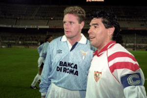 """Paul Gascoigne: I was playing against Maradona in Seville and stopped off at Disneyland in Paris and went out partying for 3 consecutive days on the way. As we lined up in the tunnel I told him I was smashed. """"Don't worry Paul, so am I"""" replied Diego.  Brilliant! 😂😂🤣 https://t.co/pW7j7tAitL: Paul Gascoigne: I was playing against Maradona in Seville and stopped off at Disneyland in Paris and went out partying for 3 consecutive days on the way. As we lined up in the tunnel I told him I was smashed. """"Don't worry Paul, so am I"""" replied Diego.  Brilliant! 😂😂🤣 https://t.co/pW7j7tAitL"""