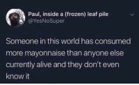 Alive, Frozen, and Best: Paul, inside a (frozen) leaf pile  @YesNoSuper  Someone in this world has consumed  more mayonnaise than anyone else  currently alive and they don't even  know it Send this to your best guess
