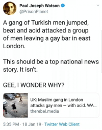 Muslim, News, and Twitter: Paul Joseph Watson  @PrisonPlanet  A gang of Turkish men jumped  beat and acid attacked a group  of men leaving a gay bar in east  London.  This should be a top national news  story. It isn't.  GEE, I WONDER WHY?  UK: Muslim gang in London  attacks gay men - with acid. WA...  therebel.media  5:35 PM 18 Jan 19 Twitter Web Client