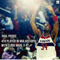 Nba, Paul Pierce, and Reggie: PAUL PIERCE  4TH PLAYER IN NBA HISTORY  WITH 2,000 MADE 3-PT  Wizards Paul Pierce joins Ray Allen, Reggie Miller and Jason Terry as the only players with 2,000 made three pointers. 🏀🏀🏀