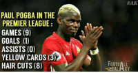 By-->Football Galaxy (y): PAUL POGBA IN THE  PREMIER LEAGUE  GAMES (9)  GOALS (1)  ASSISTS (0)  YELLOW CARDS (3), A  HAIR CUTS (8)  HAK  FOOTBALL  segoGALAXY. By-->Football Galaxy (y)
