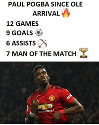 Arrival: PAUL POGBA SINCE OLE  ARRIVAL  12 GAMES  9 GOALS  6 ASSISTS  7 MAN OF THE MATCH  CHEUROLET
