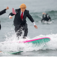 Anaconda, Donald Trump, and Halloween: Paul Rodrigue2/The Orange County Register via AP A man dressed as a flag-waving President Donald Trump is cheered on as he surfs with approximately 100 other surfers wearing wacky Halloween costumes.