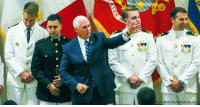 Friday, Memes, and Marines: Paula Merritt/The Meridian Star via AP @VP Mike Pence takes the stage with his son, @marines 1st Lt. Michael Pence (left), who was among seven aviators earning their Wings of Gold at Naval Air Station Meridian on Friday.