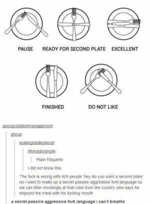 Fucking, Fuck, and Passive Aggressive: PAUSE  READY FOR SECOND PLATE  EXCELLENT  FINISHED  DO NOT LIKE  spoopystationmanagement  phrux:  leakinginklikeblood  lifemadesimple  Plate Etiquette  I did not know this.  The fuck is wrong with rich people hey do you want a second plate  no i want to make up a secret passive aggressive fork language so  we can titter mockingly at that rube from the country who says he  enjoyed the meal with his fucking mouth  a secret passive aggressive fork language i can't breathe Passive agressive fork language​
