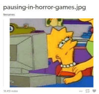Games, Horror, and Horror Games: pausing-in-horror-games.jpg  filenames  10,455 notes https://t.co/zSS6oSLZ5x
