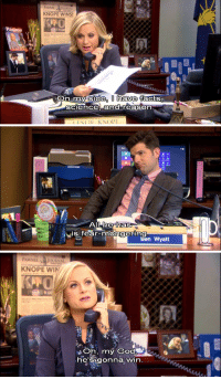 Amy Poehler and Nick Offerman to Host a Crafting Reality Show: PAWNEEJOURNAL  KNOPE WINS!  side, I have  On my facts,  sciece, and reason  IFSLIE KNOPE   he has  is fear-mongering  Ben Wyatt   PAWNEE JOURNAL  KNOPE WIN  Oh, my God  heSigonna win Amy Poehler and Nick Offerman to Host a Crafting Reality Show