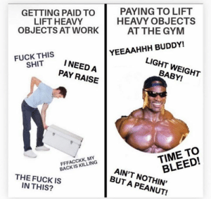 Gym, Shit, and Yeah: PAYING TO LIFT  HEAVY OBJECTS  AT THE GYM  GETTING PAID TO  LIFT HEAVY  OBJECTS AT WORK  YEEAAHHH BUDDY!  FUCK THIS  SHIT  LIGHT WEIGHT  INEED A  BABY!  PAY RAISE  TIME TO  BLEED!  FFFACCKK, MY  BACK IS KILLING  AIN'T NOTHIN'  BUT A PEANUT!  THE FUCK IS  IN THIS? Yeah buddy 😎💪