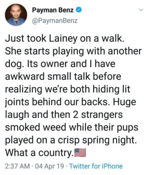 Bonding over the devils lettuce: Payman Benz *  aPaymanBenz  Just took Lainey on a walk  She starts playing with another  dog. Its owner and I have  awkward small talk before  realizing we're both hiding lit  joints behind our backs. Huge  laugh and then 2 strangers  smoked weed while their pups  played on a crisp spring night  What a country  2:37 AM 04 Apr 19 Twitter for iPhone Bonding over the devils lettuce